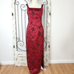 Jeffrey and Dara red sleeveless evening gown